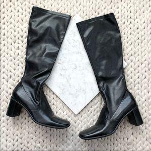 Franco Sarto Black Heeled Knee High Leather Boots